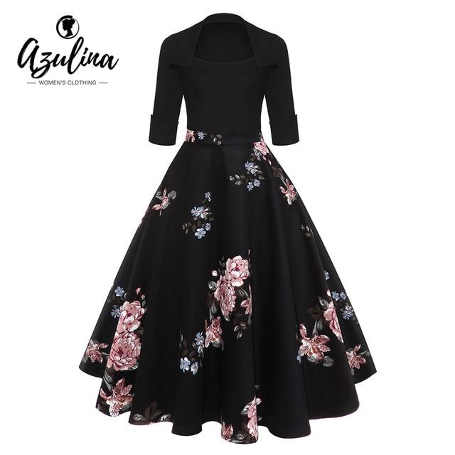 b4bdfca5ec2236 AZULINA Audrey Hepburn Vintage Party Kleid Frauen Floral Flare Midi Kleider  Winter Herbst Retro Elegante Kleid