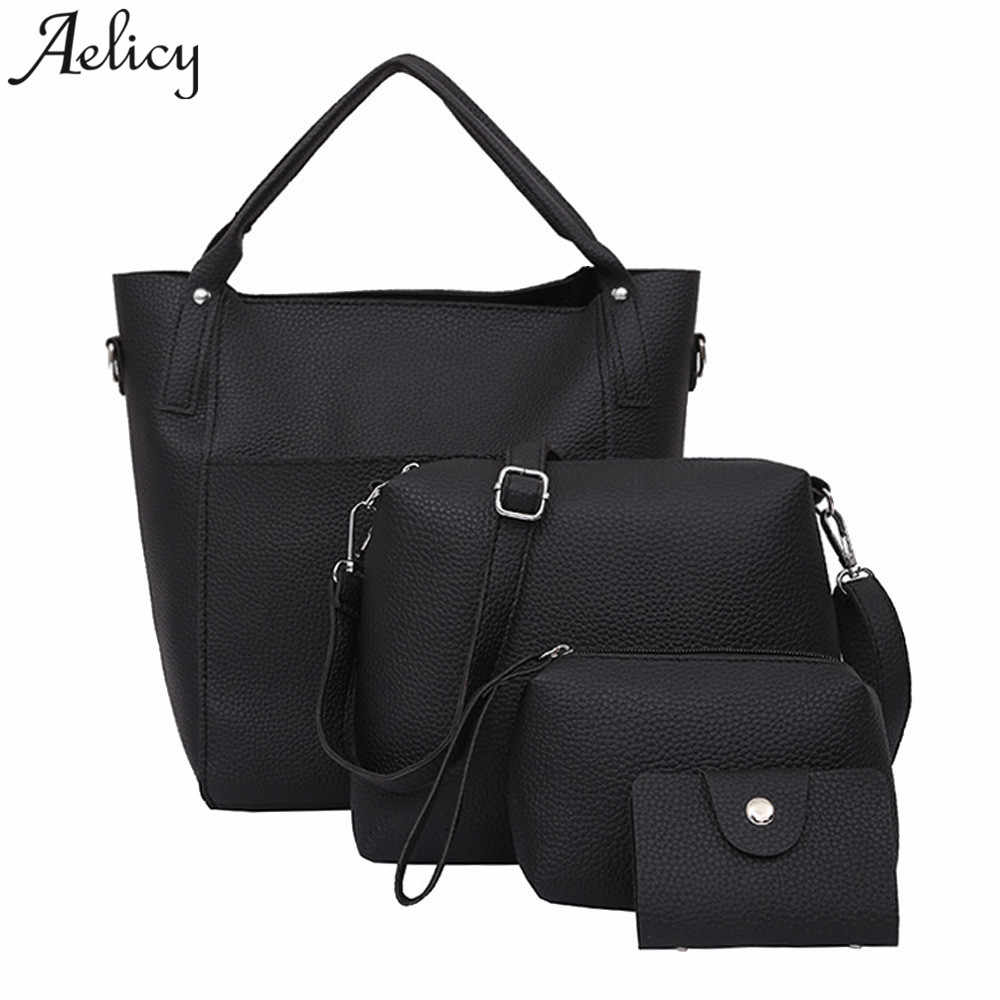 Aelicy Girl Shoulder Bags Four Set leather Tote Women Handbag +Crossbody bag+Card  bag 582885519c75a