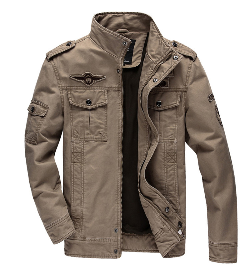 Brand Military Jacket Men Stand Collar Pockets Zipper Mid Length Casual Autumn Outwear Men Jacket Coat