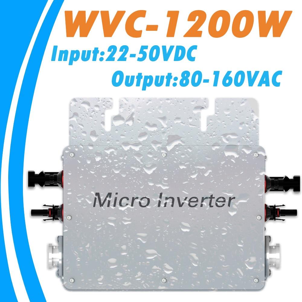 MPPT Pure Sine Wave Inverter 1200W 22V-50VDC Input 80-160VAC Output Waterproof Grid Tie Micro Inverter for 36V PV System 1000w mppt function grid tie inverter pure sine wave 220v output 18v input micro on grid tie inverter 18v 36 soar cells