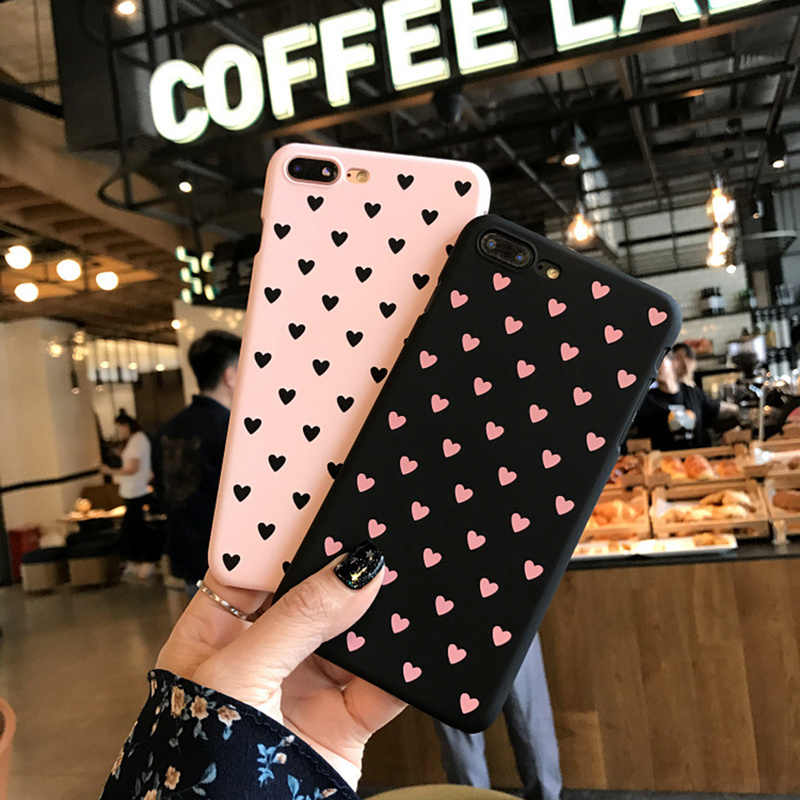 Heart Mobile Phone Case for iPhone 6 6s 7 8 Plus 5 5s SE X XR XS Max Love Element Style Case for Girls Female Frosted Back Cover