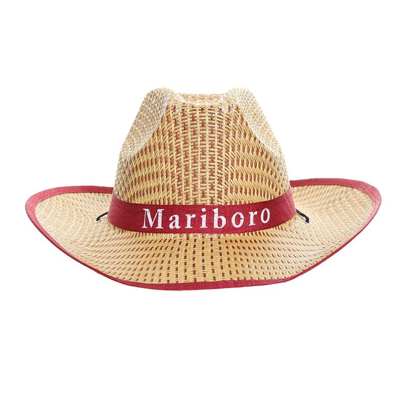 Men Retro Western Cowboy Summer Straw Sun Hat Wide Curly Brim Letters Printed Ribbon Jazz Bucket Cap Contrast Color Trim