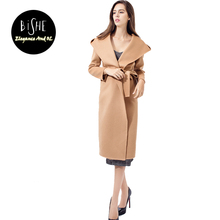 BiSHE Casual Women Wool Blend Long Coat Female Overcoat With Belt Long Sleeve Khaki Loose Cashmere Women Winter Coats 2017