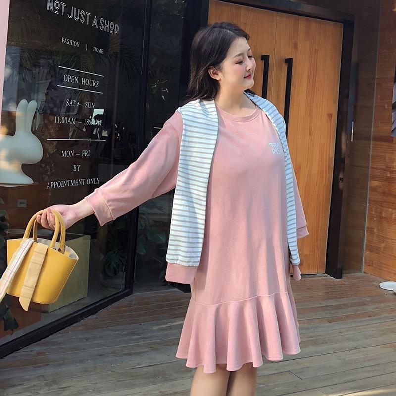 ALAN Big Size Women s Fat MM 2019 Spring Dress New Lumbar Cover Abdomen Fake Two