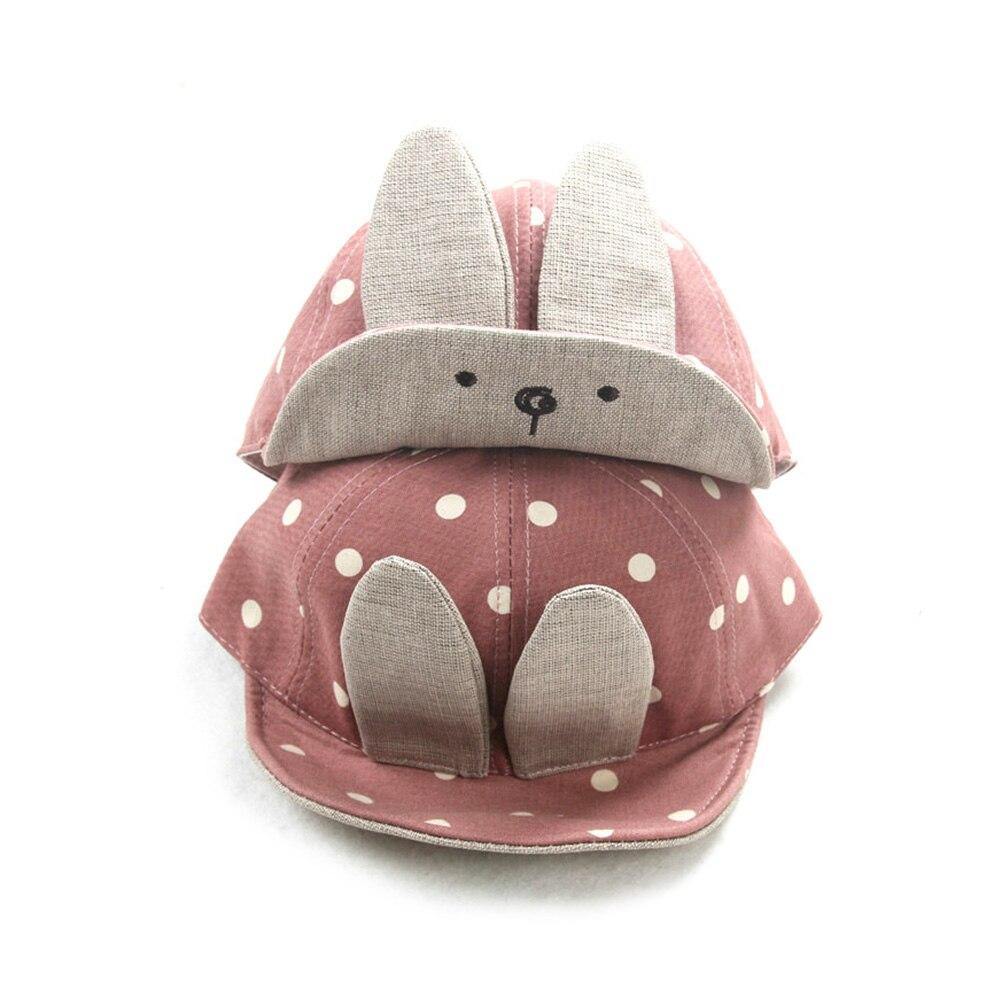 Baby Boy Girl Cartoon Cute Rabbit Ear Dots Children Peaked Cap Sun Hat (Pink)