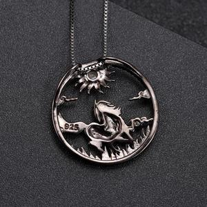 Image 4 - GEMS BALLET Natural Amethyst  Zodiac Jewelry 925 Sterling Silver Handmade Sun & Horse Gemstone Pendant Necklace For Women