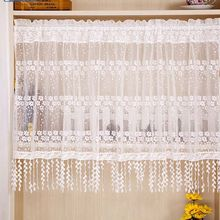 Kitchen Curtain Handmade Embroidered Flower Cafe Curtain Voile Lace Window Valance Curtains for Home Decorative
