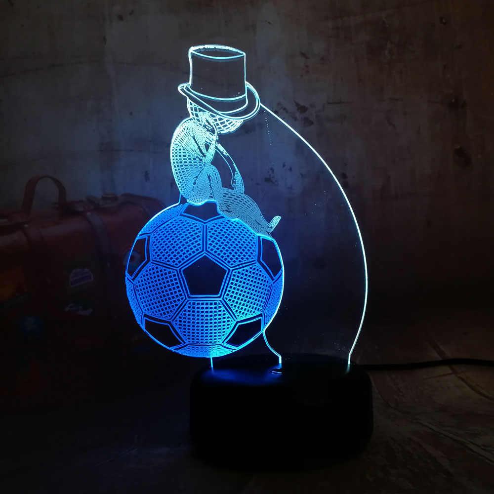 2018 nouveau Style de sport assis sur Football Football LED nuit Lihgt Double couleur mixte enfant cadeau décor à la maison Lustre lampe de Table