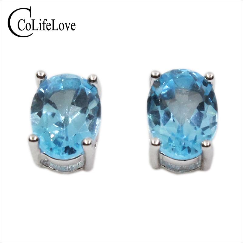100% natural light blue topaz silver crystal earrings 925 Solid Sterling Silver stud earrings for woman best gift 925 silver недорго, оригинальная цена
