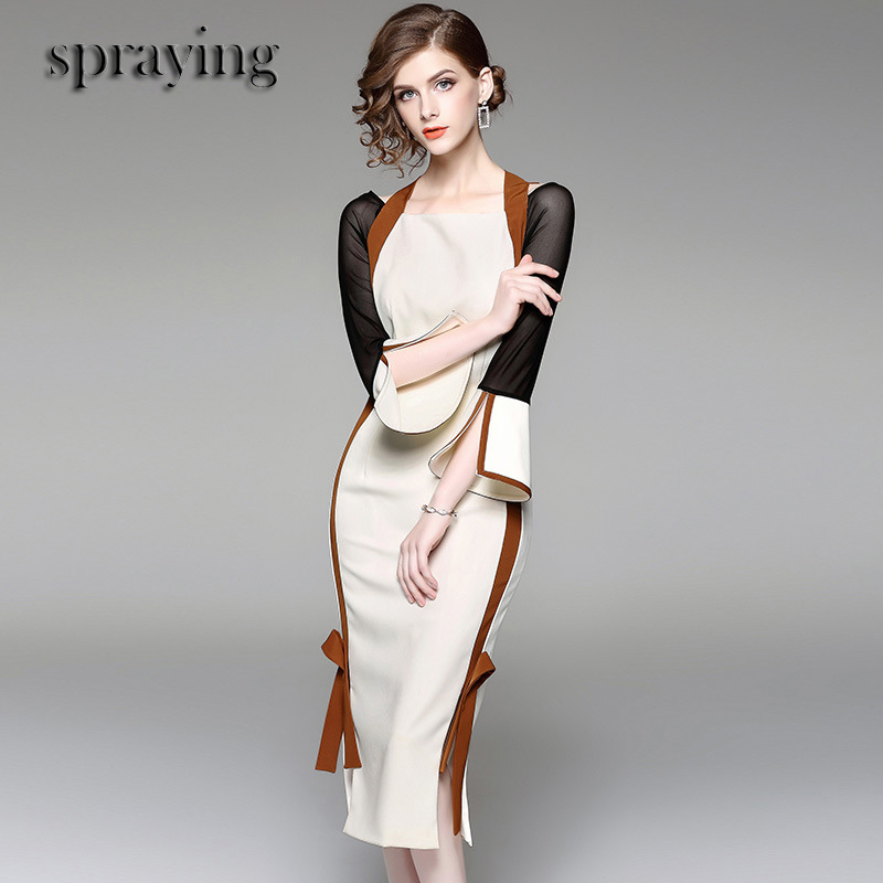 High Quality Boutique women clothes ladies temperament elegant dress long flare sleeve Slim patchwork sexy Sheath