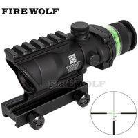 Trijicon Tactical Acog Style 4x32 Rifle Scope BK Red Dot Green Optical Fiber 20mm Rail