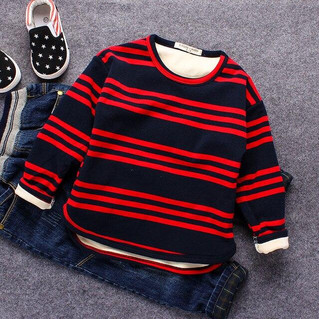 Дети мальчики полосатый бархат зима блузка топы подростков футболки малыш мальчик младенческой ребенок верхняя одежда сгущает детские топы футболки