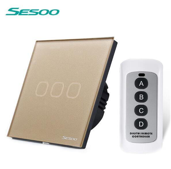 EU/UK Standard SESOO Remote Control Switch 3 Gang 1 Way,Crystal Glass Switch Panel,Wall Light Touch Switch+LED Blue Indicator uk standard crystal glass panel smart touch wall light switch 1 gang 2 way wireless remote control light switch