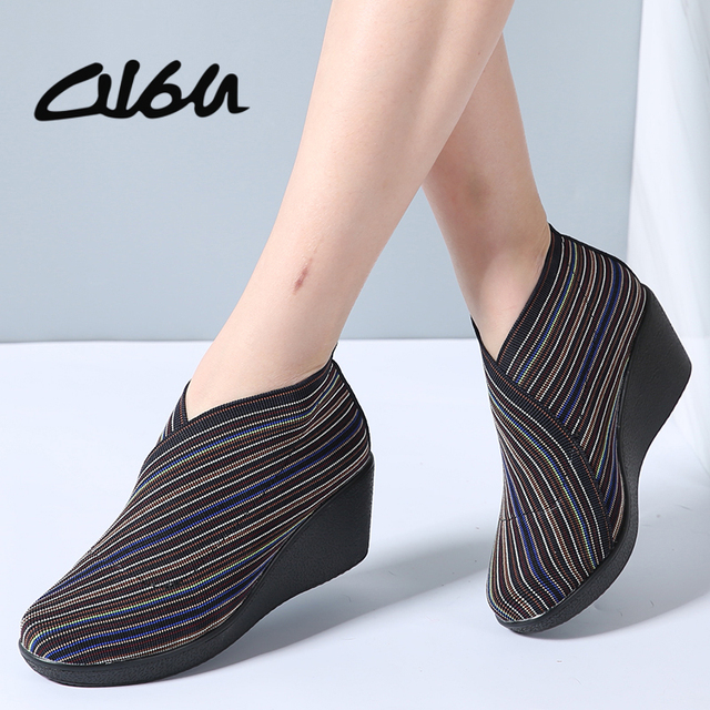 7663c886d506 O16U 2018 Women s Shoes Slip On Round Toe Platform Wedge Pumps Women  Stretch Fabric Leather High Heels Casual Shoes Creepers
