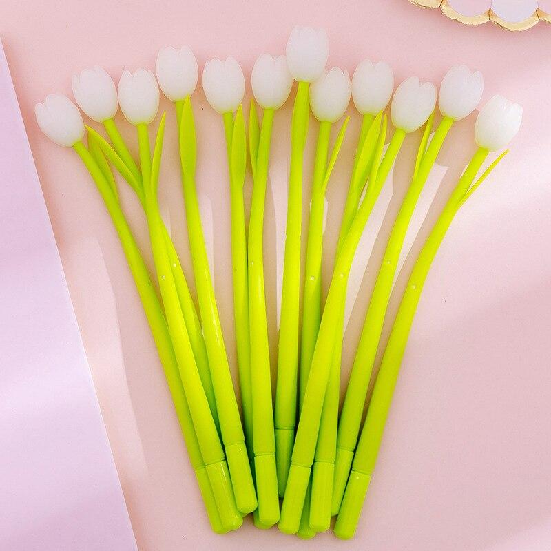 (3 Pieces/lot) Photochromic Tulip Silicone Gel Pen Cute Student Exam Writing Pen