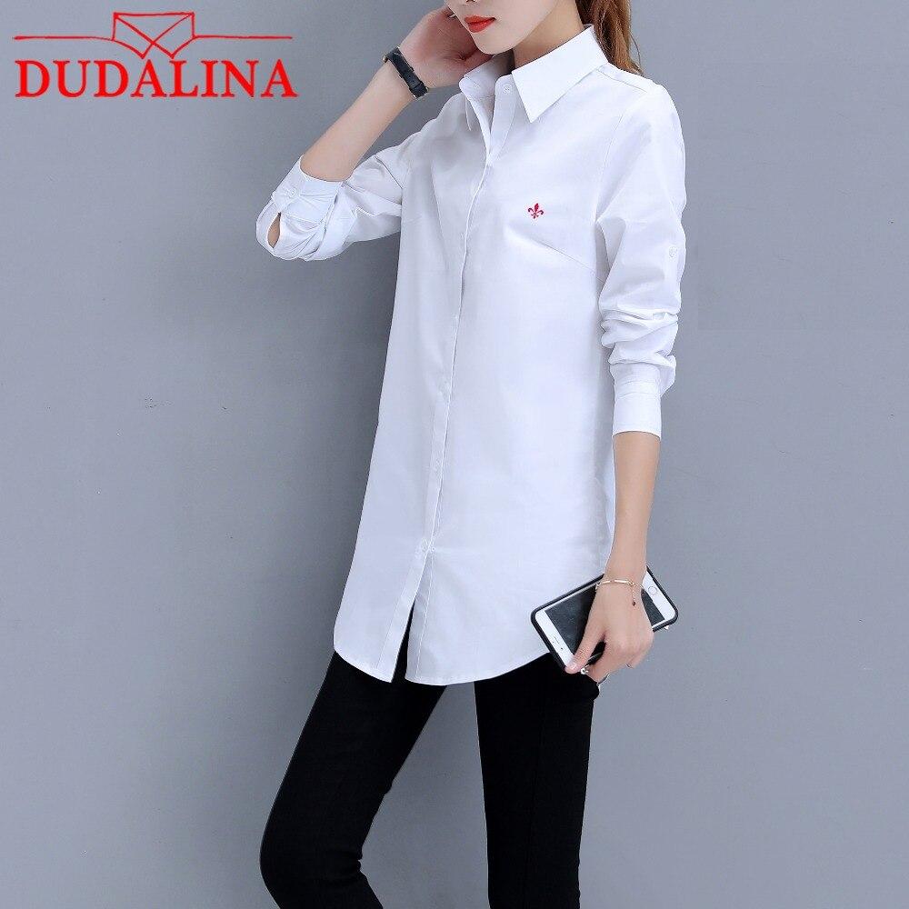 DUDALINA Women Long Sleeve Shirt 100 Cotton Fashion Loose Big Size Casual Shirt Women Turn down