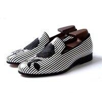Черно белый полосатый с вышивкой роз вечерние свадебные туфли мужские туфли на плоской подошве ручной работы мужская обувь