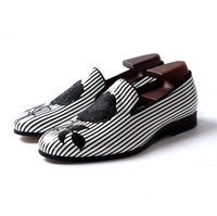 Black and white striped embroidery rose party wedding shoes men flats leather handmade mens shoes