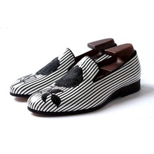 Black and white striped embroidery rose party wedding shoes men flats leather ha