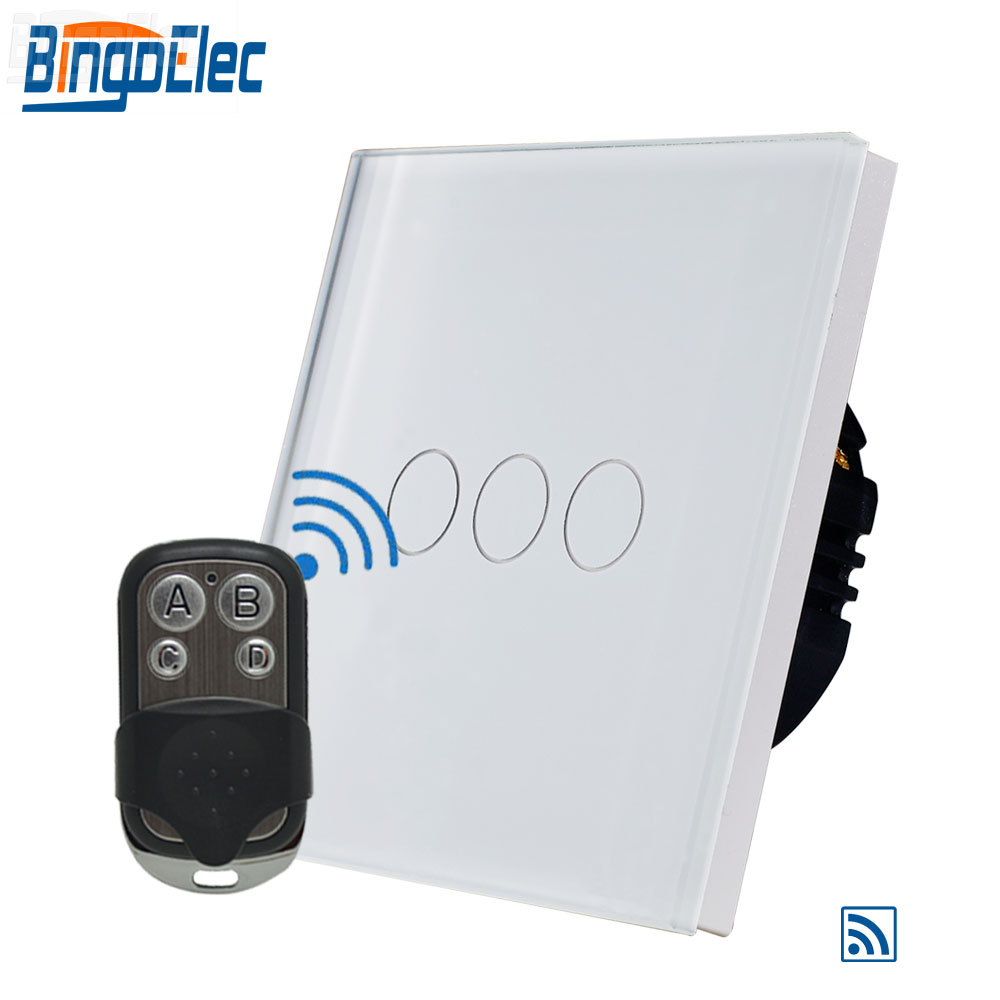 Bingoelec 3 Gang 1 Way Touch Switch Set Fashion Remote Controller RF 433 MHZ Glass Panel Sensor Screen Light Wall Switch