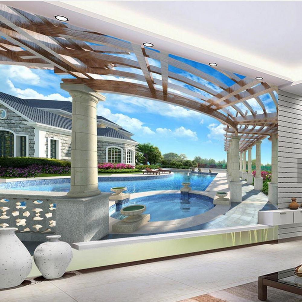 Aliexpress Buy 3d Wallpaper Balcony Swimming Pool Background