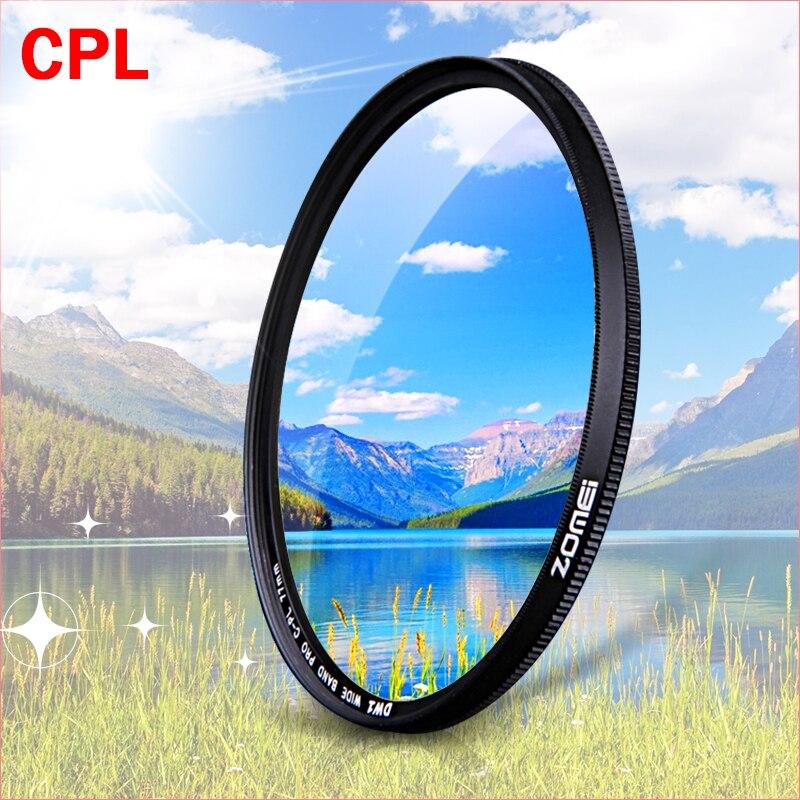 ZOMEI CPL Polarizador Circular filtro para Câmera Canon Nikon DSLR Camera lens 52mm/55/58/62/67/72/77/82mm