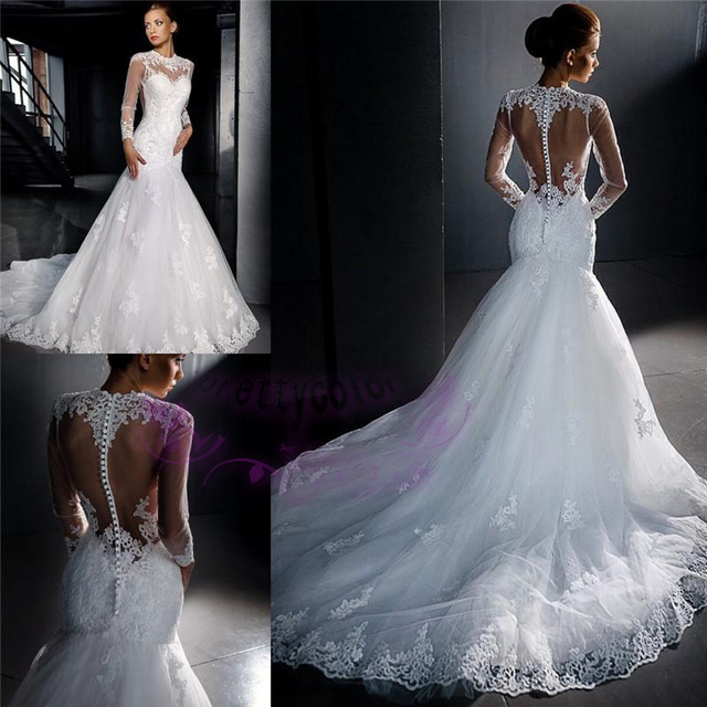 New Arrival Vintage Lace Wedding Dresses 2016 Sexy Long Sleeves ...