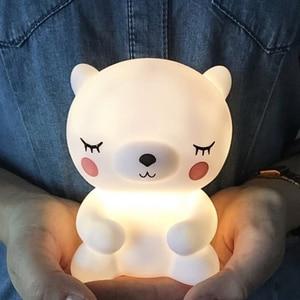 Bear Led Night Light Lamp for Baby Children Kids Room Animal Cartoon Bedside Bedroom Living Room Decorative Lighting(China)