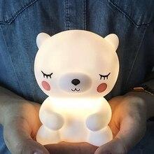 الدب Led ضوء الليل مصباح للطفل الأطفال غرفة الاطفال الحيوان الكرتون السرير غرفة نوم غرفة المعيشة الإضاءة الزخرفية