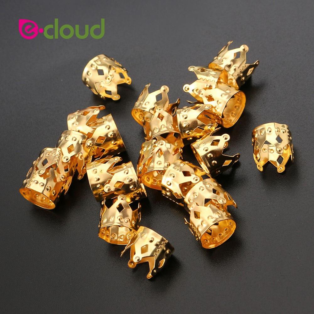 100 желтое металлическое кольцо для волос в форме короны бусины
