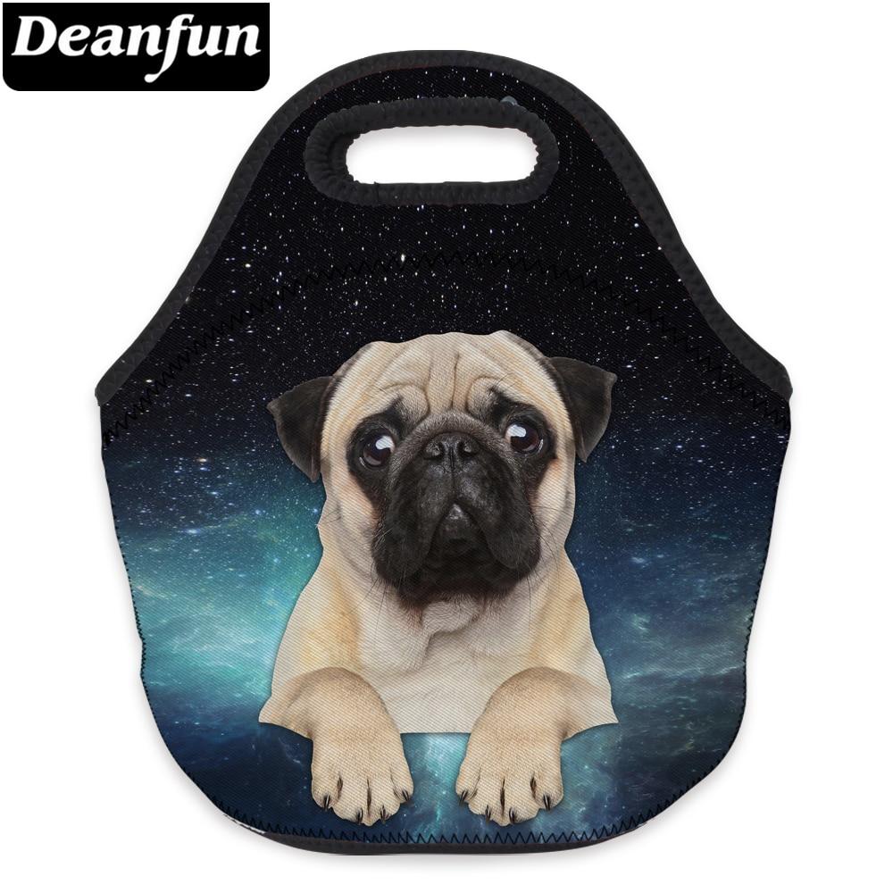 Deanfun Waterproof Lunch Bag 3D Printed Pug Neoprene Food Package For Picnic 73093
