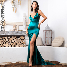 Love&Lemonade  Sexy Deep V-Neck GREEN Cut Out Sling Open Back Bodycon Long Dress  LM81222-1