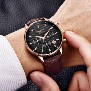 Image 2 - גברים שעון עסקי יוקרה אופנה לוח שנה ספורט מקרית זכר קוורץ שעוני יד עור אמיתי תכליתי גברים של מתנה שעונים