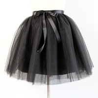 5 Layers 65cm Long Dark Green Tulle Skirt Elegant Pleated Tutu Skirt Winter Skirts Womens Lolita