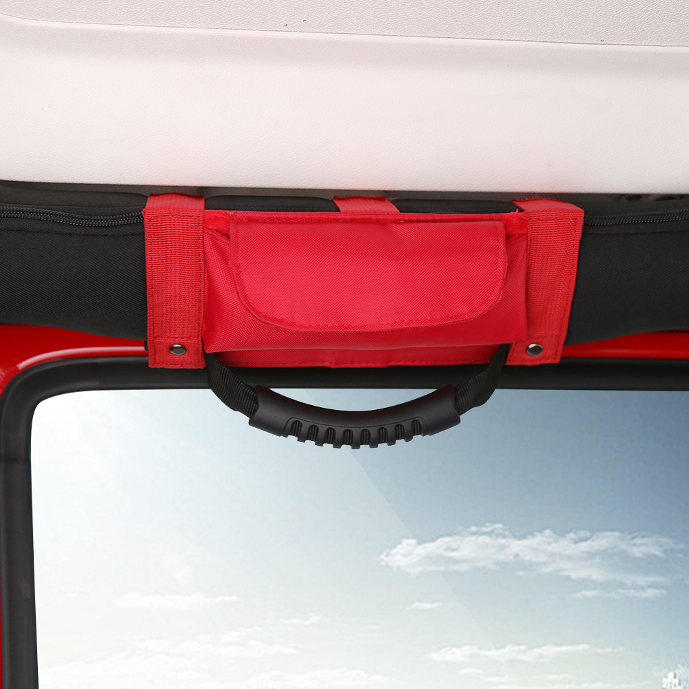 Image 2 - SHINEKA Car Roll Bar Grab Handle with Sunglasses Holder Storage Bag Armrest Pouch Bag Accessories for Jeep Wrangler CJ TJ JK JL-in Armrests from Automobiles & Motorcycles