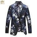 MIUK Большой Размер Мужские Цветочные Blazer Бренд-одежда 5XL 4XL Цветок Печати Моды Костюм Homme Slim Fit Блейзер Masculino 2017