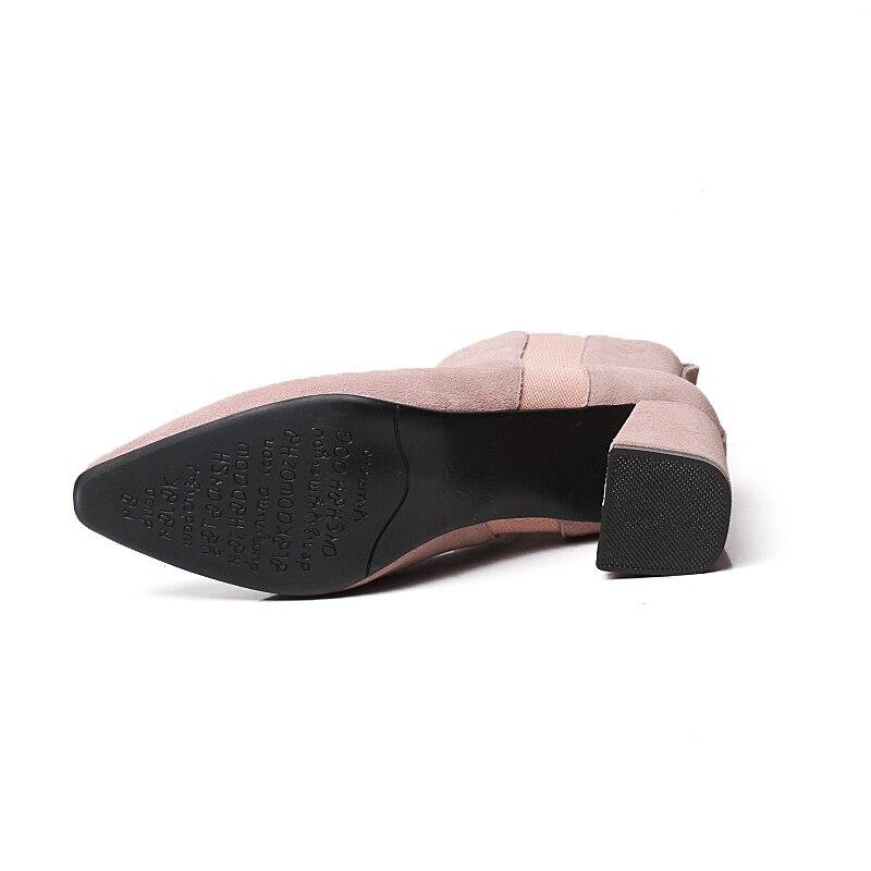 Black khaki Taille Bout Épais Femme pink 39 Bottines Med 34 Vache Cr1651 Noir Talons Courtes Causal D'hiver Chaussures Enmayer En Daim Pointu FT13KlJc
