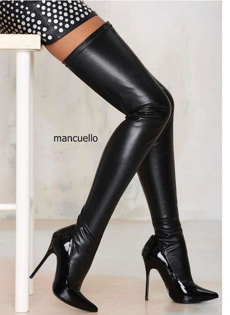aa63f7204e9 Fasnion Design Women Chic Black PU Leather Pointed Toe Stiletto Heel Thigh  High Boots Sexy Women Black Long Boots New Arrival