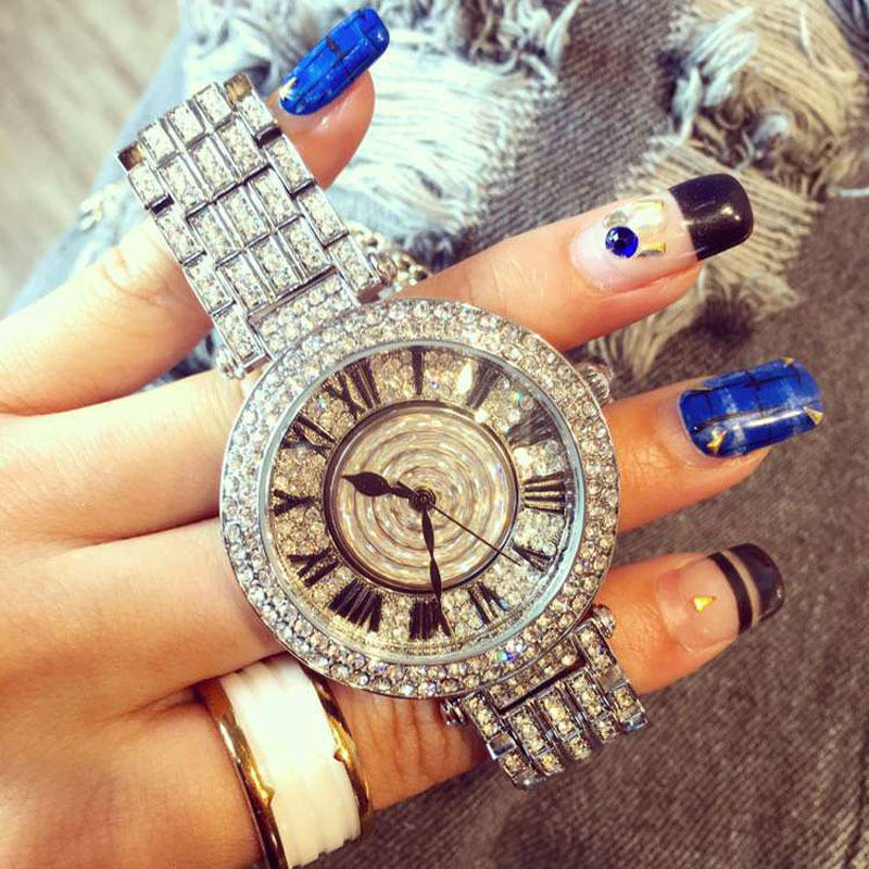 Rotating Flower Big Dial Wristwatch Women Dress Rhinestone Watches Fashion Casual Quartz Watch Luxury Brand relogio feminino элидел крем 1