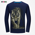 Autumn New Fashion 3d Prints T Shirts Men's 2016 Big Tiger T-shirt Fitness Long Sleeves Cotton tee shirt homme camisetas hombre
