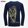 Outono Nova Moda 3d Imprime Camisas de T dos homens 2016 Grande tigre T-shirt da Aptidão camiseta homme camisetas de Mangas Compridas de Algodão hombre