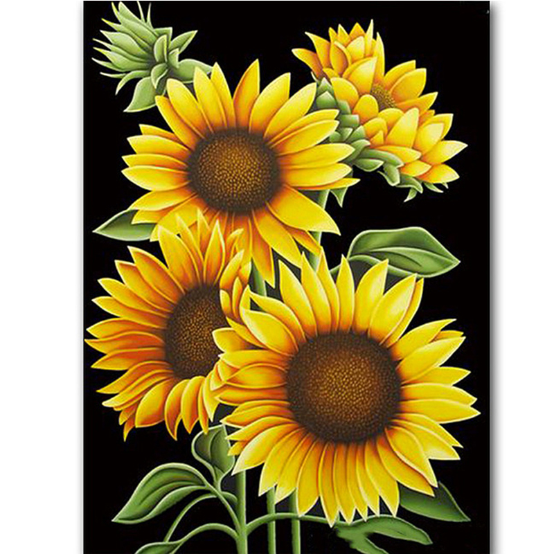 sunflower oil painting by numbers full square diamond poster decor wall art sticker abstract diamond dotz picture embroidery needlework gift