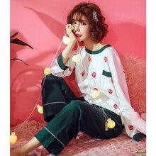 Пижама для девочек, весенний костюм из чистого хлопка с длинными рукавами тонкая Корейская версия, прекрасный большой размер для беременных, пижамы