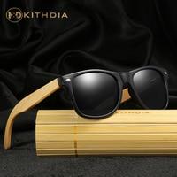KITHDIA Men Wooden Bamboo Legs Sunglasses Male Classic Black Frame Polarized Sun Glasses Women Brand Designer Glasses #KD022