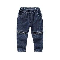 2017 New Arrival 100-140 cm Dzieci Jeans Denim Jeans dla Chłopców i nastolatków Oddychająca Bawełna Elastyczny Pas Zip Grudnia w kolorze Niebieskim i szary