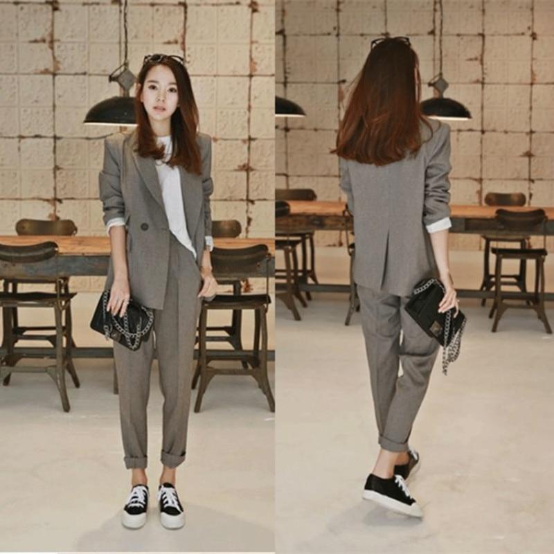 Women's business suit Small suit fashion women fashion temperament Slim loose OL suit female casual 2 pieces / sets 1