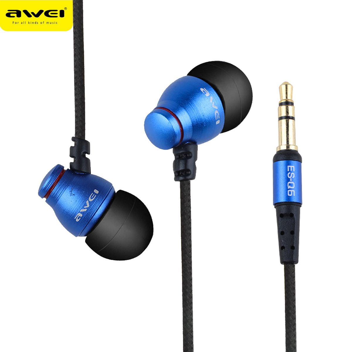 AWEI ES Q6 Wired Headphone For iPhone Samsung Huawei Stereo Earphone Super Bass Sound Headset For Phone MP3 MP4 Players awei es q5 red