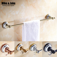 Luxury Golden Crystal Solid Brass 50cm Towel Rail Single Towel Bar Bathroom Towel Holder Bathroom Accessories