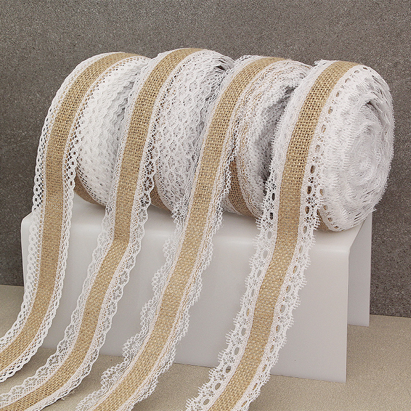 2Meter 25mm Jute Burlap Hessian Ribbon With Lace Trim Christmas Party DIY Craft Vintage Rustic Wedding Gift Packaging Decoration