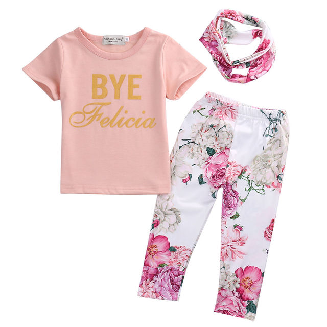 105878934 3Pcs Newborn Toddler Infant Baby Girls Floral Outfit T shirt Pants ...